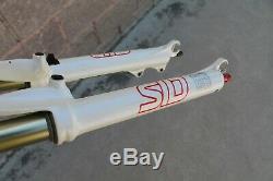 Gabel MTB Rock Shox Sid Schwarz Box Kohlenstoff 26 V-Brake 1/8 Weiß Retro